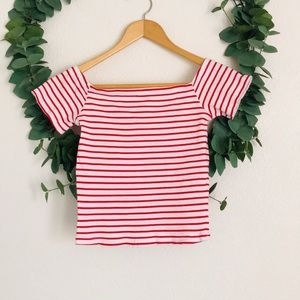 H&M Divided Striped Off The Shoulder Crop Top